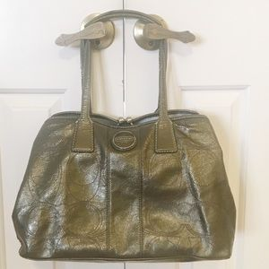 Coach olive green patent leather handbag GUC